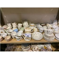 SHELF LOT OF MISC. COLLECTABLE CHINA