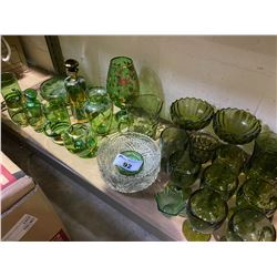 SHELF LOT OF GREEN GLASS AND MORE