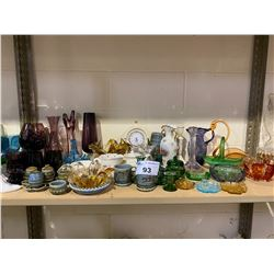 SHELF LOT OF MISC. PURPLE GLASS, ART GLASS AND MORE