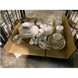 SHELF LOT OF MISC. CHINA INCLUDING SOME ROYAL ALBERT VAL D'OR AND MORE