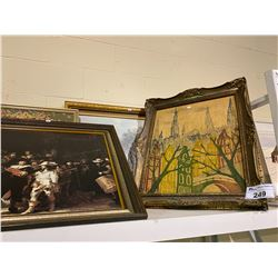 SHELF LOT OF MISC. PICTURES, PAINTINGS AND PRINTS
