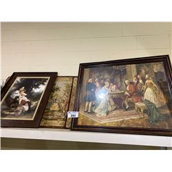 SHELF LOT OF TAPESTRIES AND PICTURES