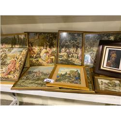 SHELF LOT OF NEEDLEPOINTS AND PICTURES