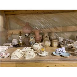 LARGE SHELF LOT OF MISC. CHINA AND COLLECTABLES