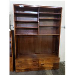 POUL HUNDEVAD DANISH MODERN ROSEWOOD BOOKCASE CABINET WITH 4 DRAWERS