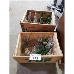 VINTAGE 7UP & PEPSI CRATES WITH VINTAGE SODA BOTTLES & 2 CASES
