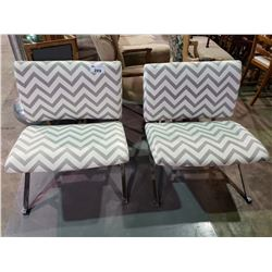 2 CHEVRON PATTERNED METAL FRAMED CHAIRS