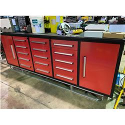 STEELMAN 10FT WORK BENCH WITH 15 DRAWERS, 2 CABINETS WITH LOCK AND ANTI-SLIP *MISSING KEY*