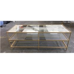 Brass & Mirrored Rectangle Coffee Table