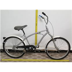 Silver Men's Road Bike w/ Ape Hanger Handlebars & White Fenders