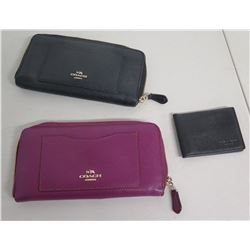 Qty 3 Coach Wallets: Black & Pink Zipper Wallet & Black Men's ID Case