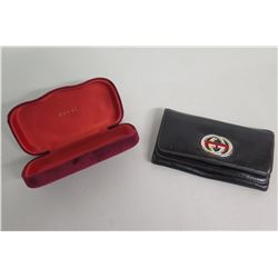 Gucci Black Folding Wallet & Red Glasses Case