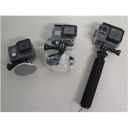 Qty 3 GoPro Cameras: 1 with  Extension Pole