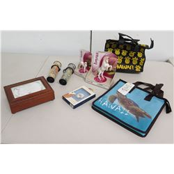 Qty 2 Hawaii Tote Bags, Music Box, 2 Kaleidoscopes, 2 Bayala Horses, etc