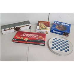 Qty 5 Games - Scrabble, Decipher, Checkers, Rock My Archimedes & Mancala