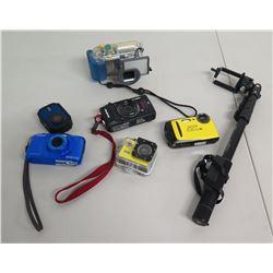 Qty 6 Cameras: Nikon Coolpix, XP, Olympus Tough & 3 Go Pro (1 w/ Extension)