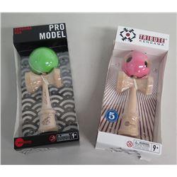 Qty 2 New Pro Model & Tribute Wooden Kendama w/ Green & Pink Balls