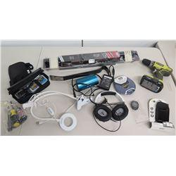 Ryobi Drill Driver, Philips Jogproof CD Player, Headphones, Phone Cases, Tools