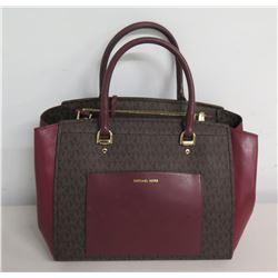 Michael Kors Black Logo & Burgundy Leather Tote Bag