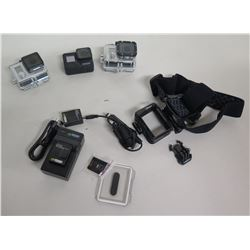 Qty 3 GoPro Hero Cameras & Accessories: Case, Chargers, etc