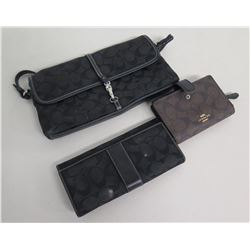Qty 3 Coach Wallets: 2 Black Fold-Over & 1 Zipper w/ Logo Monogram