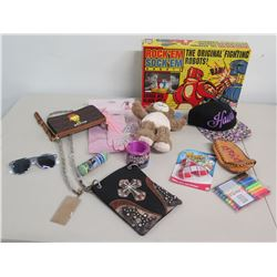 Original Rock'Em Sock'Em Robots, Beaded Bags, Plush Bear, Play Tiara, etc