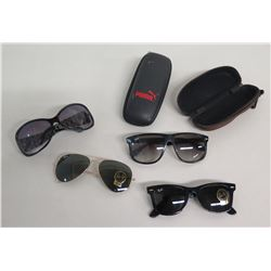 Qty 3 Pair Ray-Ban Sunglasses & Other Brand w/ 2 Black Cases Puma, etc