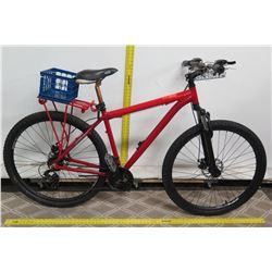 "Serfas 606 Aluminum Red 19"" Hybrid Bike w/ Front & Rear Basket Storage"
