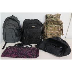 Qty 5 Backpacks & Bags: Rush Tactical 5.11 Camo, Calvin Klein, DaKine, etc