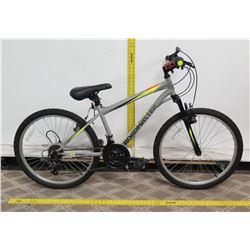 "Roadmaster Granite Peak 18 Speed 24"" Gray Men's Mountain Bike"