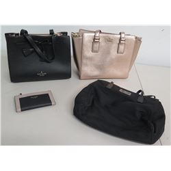 Qty 3 Kate Spade Bags: 2 Black and 1 Gold Totes & Folding Wallet