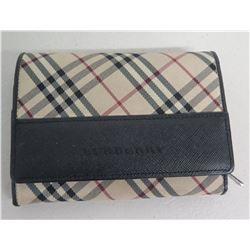 Burberry Plaid Check Wallet w/ Card Slots & Zipper Pocket