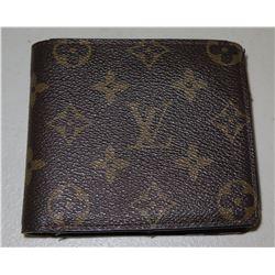 Louis Vuitton Paris Logo Monogram Folding Billfold Wallet w/ Zipper Pocket