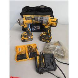 DeWalt DCD996 HammerDrill, DCF887 Impact Driver, Charger, Bits & Case
