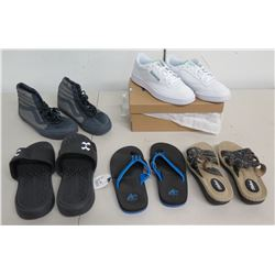 Qty 5 Pair Shoes: Reebok & Gray Sneakers, 2 Slides & 1 Slippers