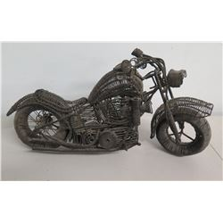 Detailed Vintage Motorcycle made of Metal Wire