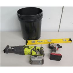 Ryobi P517 Brushless Reciprocating Saw, Porter Cable Drill, Level & Bucket