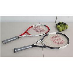 Qty 2 Wilson Roger Federer Oversize Tennis Racquets & Mesh Bag of Balls