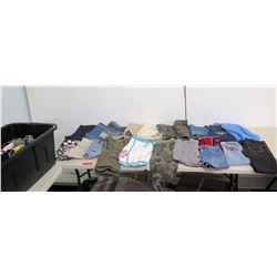 Misc Clothing: Jeans, Denim Skirts, Camo Pants, Work Out Shorts, Bin of Shirts, etc