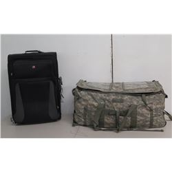 Forceprotector Gear Camouflage Duffel Bag & Swiss Gear Black Rolling Suitcase