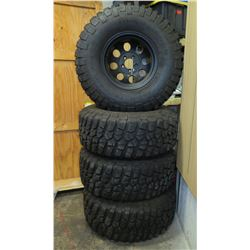 Qty 4 BF Goodrich Mud-Terrain T/A Tires on Rims Radial 33x1250R