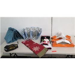 Qty 2 Christmas Tree Skirts, Folding Plastic Sorter, Clothes Hangers, etc