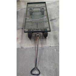 Rolling Metal Mesh Rectangle Platform Cart w/ Pull Handle
