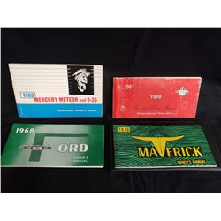 SET OF 4 FORD OWNERS MANUALS 1963, 67, 68 AND 1970 MAVERICK NO RESERVE