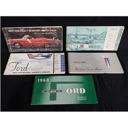 ASSORTED FORD OWNERS MANUALS 1963/64/65/66/68 NO RESERVE