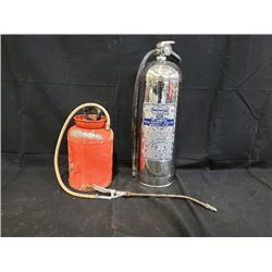 ANTIQUE SPRAYER AND WATER FIRE EXTINGUISHER  NO RESERVE