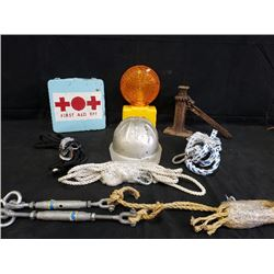 ASSORTED ITEMS INCLUDING ANTIQUE JACK, CONSTRUCTION LIGHT  FIRST AID KIT NO RESERVE