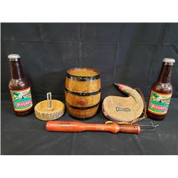 ASSORTED ITEMS BARREL 7 TALL, WINE SKIN, NUTCRACKER W/DISH, TIRE THUMPER BAT, 2 PLASTIC PILSNER BOTT