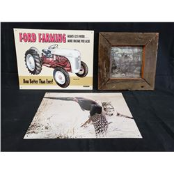 2 METAL FORD FARMING SIGNS AND EYE ON BY CHRISTOPHER WALDEN AND MASSEY HARRIS TRACTOR NO RESERVE