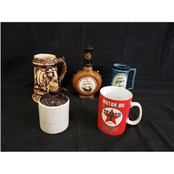 ASSORTED BEER MUGS AND TEXACO COFFEE CUP NO RESERVE